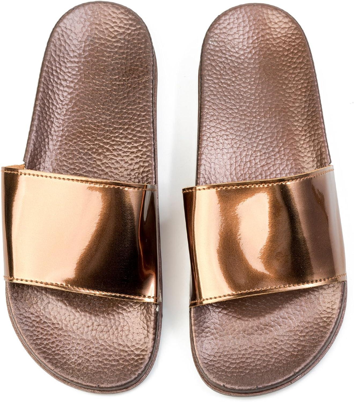 JINKUNL Women's Comfortable Furry Home Slippers Open Toe Indoor Outdoor Casual Flat Slide Sandals gold
