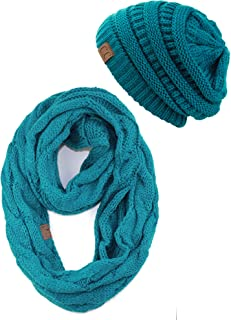 Unisex Soft Stretch Chunky Cable Knit Beanie and Infinity Loop Scarf Set
