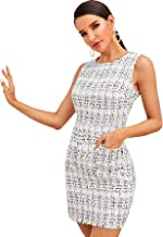 Floerns Women's Sleeveless Tweed Plaid Bodycon Dress with Pockets