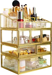 Makeup Storage Antique Spacious Mirror Glass 6 Drawers Vanity Tray Set/Gold Metal Cosmetic Makeup Box/Stunning Jewelry Cube Organizer. It Consists of 4Separate Organizers Dustproof