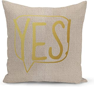 Speech bubble Yes Beige Linen Pillow with Metalic Gold Foil Print Typo Couch Pillows