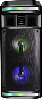 DYNASONIC - DY-65201 Altavoz Inalámbrico Sistema de Audio   Bluetooth, Altavoz Portatil, USB, Luces Multicolor, Radio FM, Micrófono, Color Negro