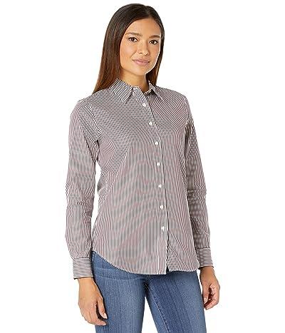 LAUREN Ralph Lauren Striped Cotton Shirt (Pinot Noir/White) Women