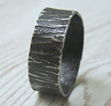 Silver Hammered Mens Wedding Band Black Engraved Custom Oxidized Ring Band Masculine Wedding Band Textured Rustic Mens Band Unisex Ring