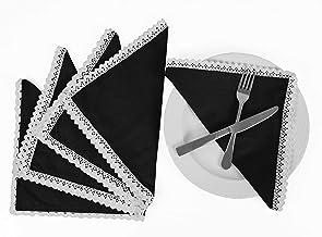 Vargottam Black Home Décor Parties Dinner Table Linen Re-Usable Napkins Set-Pack of 6