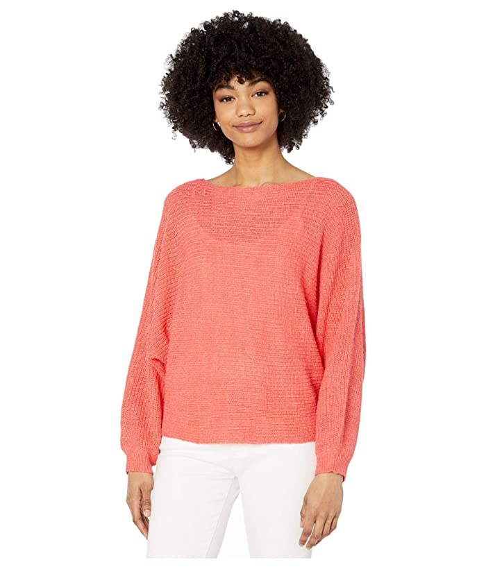 Cupcakes and Cashmere  Sonrisa Rib Knit Dolman Sweater (Hot Coral) Womens Clothing