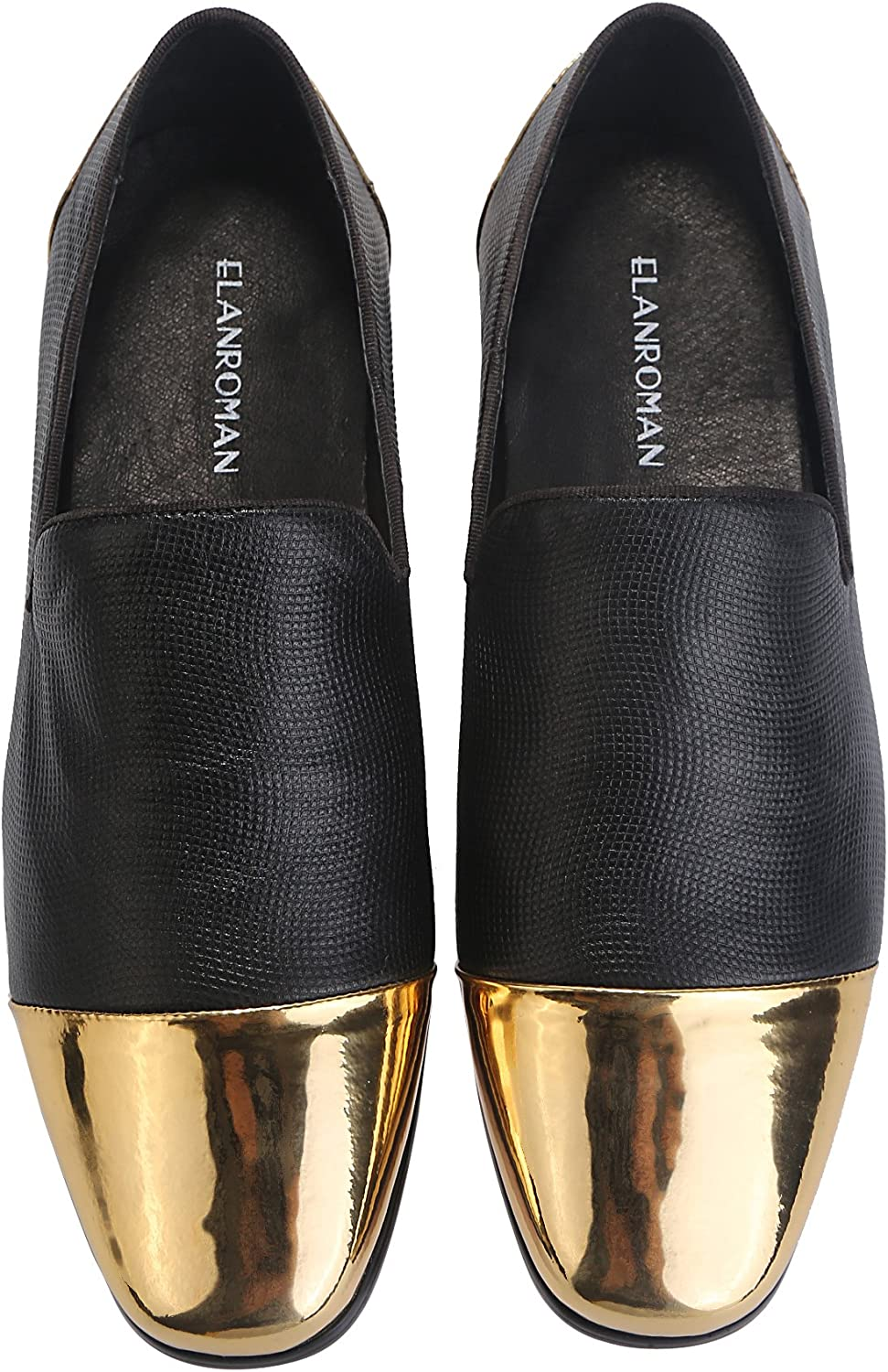ELANROMAN MEN Dress Loafers läder skor Italian Lyxy mode mode mode Classic skor guld Toe Dress for herr Casual Loafer svart  välj från de senaste varumärkena som