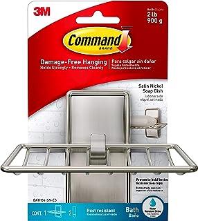 Command Soap Dish, Satin Nickel, 2 lb Capacity, 1 Hook, 2 Strips, BATH34-SN-ES