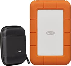 LaCie 2TB Portable Rugged Hard Drive, Thunderbolt/USB-C STFS2000800 with Ivation Compact Portable Hard Drive Case + 1mo Adobe CC All Apps