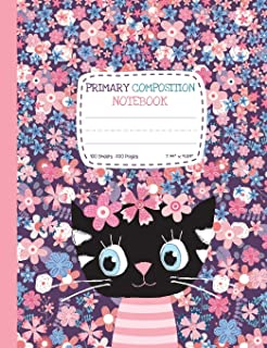 Primary Composition Notebook: Half Ruled Half Blank Cute Cat Draw and Write Journal with Picture Space for Drawing and Primary Ruled Lines for Creative Writing 100 sheets/200 pages 7.44