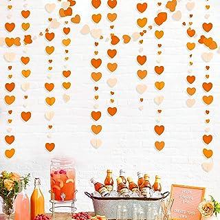 52 Ft Fall Autumn Heart Garland Gradient Orange Heart Hanging Paper Streamer for Wedding Bridal Shower Birthday Baby Showe...