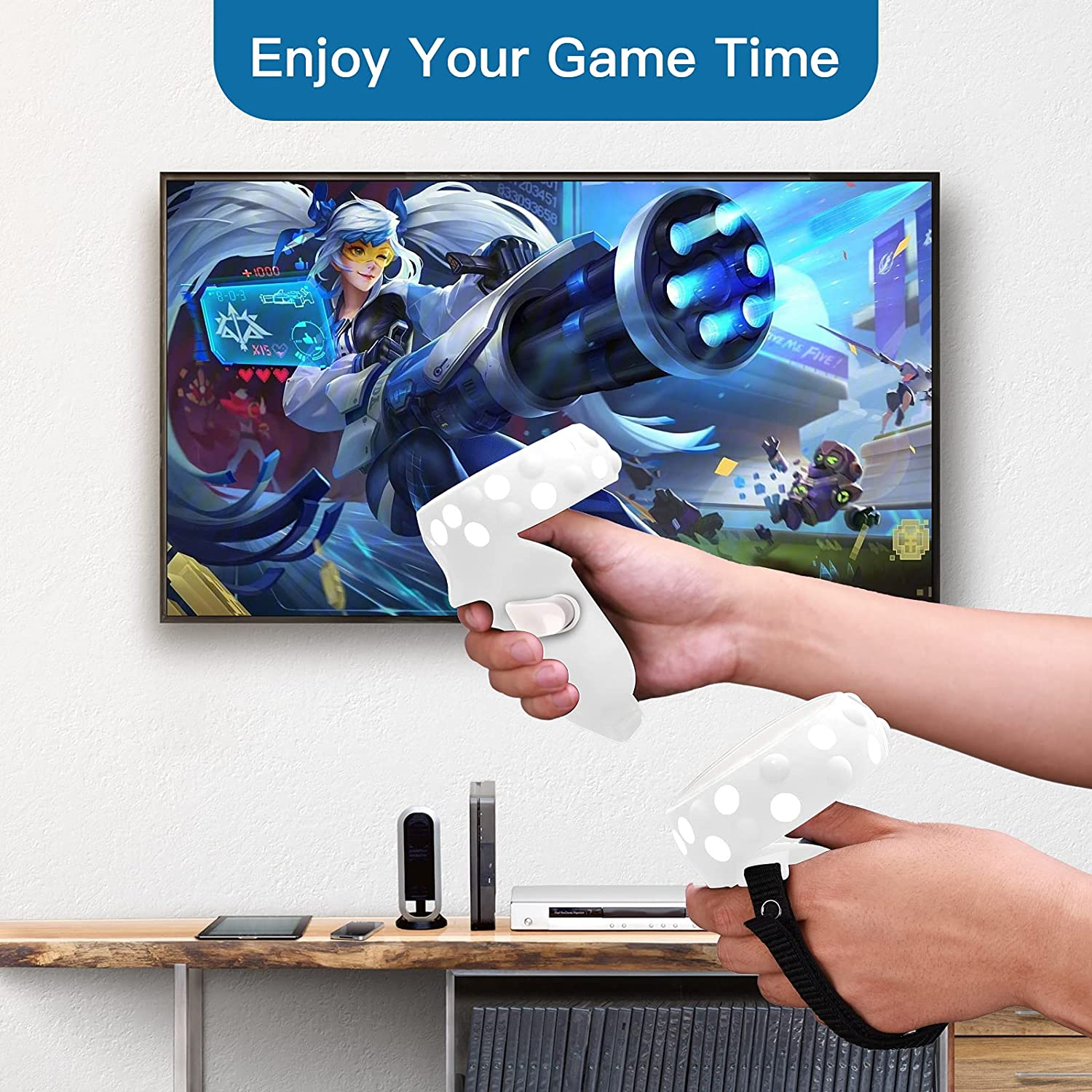 NANW Touch Controller Grip Cover Compatible with Oculus Quest 2, Handle Elastic Knuckle Silicone Straps Protective Skin Case Anti-Throw Handle Protective Sleeve for Quest 2-White