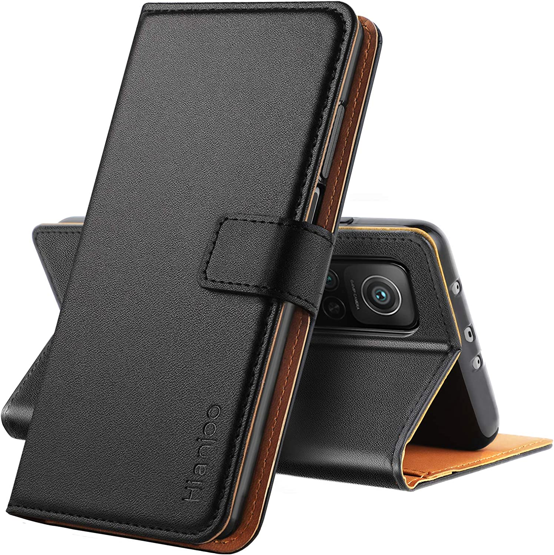 Hianjoo Funda Compatible con Xiaomi Mi 10T Pro 5G / Mi 10T 5G, Suave PU Cuero Carcasa con Flip Case Cover, Cierre Magnético,Función de Soporte,Billetera con Tapa Tarjetas, Negro