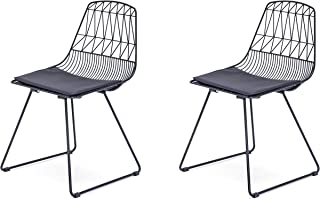 Modern Geometric Metal Dining Chair with Faux Leather Seat Pad, Set of 2