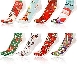 Qpout, Qpout 8 Pares Calcetines de Navidad Casuales Tobilleros Unisex de Invierno de Algodón Caliente Calcetines Térmicos Navidad Navidad Low Cut Calcetines Fun