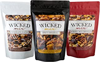 Wicked Mix - Spicy Gourmet Cajun Snack Mix Sampler Pack - Original Spicy, Smoky Hot Chipotle, Chocolate Laced