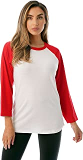 Colorblock Womens Baseball Tee Shirt with ¾ Sleeves