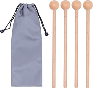 2 Pair Wood Mallets Percussion Sticks for Glockenspiel, Xylophone, Chime, Woodblock, and Bells, 8 Inch Long with a Carry Bag