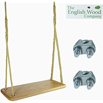 Premium, Sustainable Wooden Tree Swing - English Oak Wood Tree Swing with Rope for Adults and Children. Complete Wooden Rope Swing Kit Perfect for The Indoors and Outdoors.