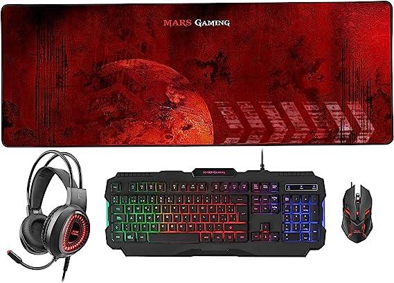Mars Gaming MCPZE1 - Pack de teclado y ratón gaming para PC (12 teclas multimedia, retroiluminación 7 colores, control intensidad, 2800 DPI, 6 botones ...