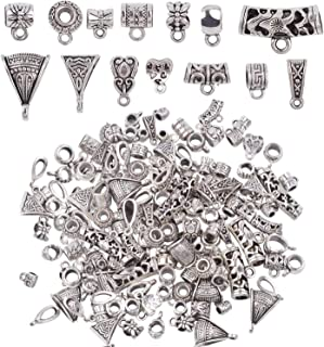 100Gram (110-130pcs) Mixed Tibetan Silver Connectors Bail Tube Beads Bails Beads Spacers Beads with Loop for Jewelry Making fit Charms Bracelet Necklace