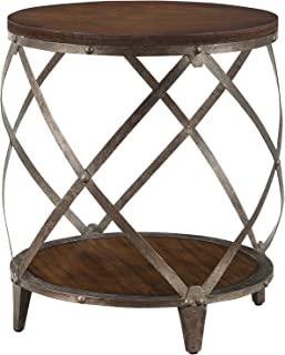 Metal Accent Table with Drum Shape Brown