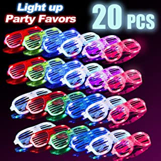 iChosen 20 Pack Light Up Glasses, Halloween Glow in The Dark LED Glasses Glow Sunglasses Shutter Shades Neon Party Supplies Carnival Rave Birthday Halloween Party Favors for Teens Adults Kids