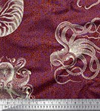 Soimoi Orange Cotton Cambric Fabric Animal Skin,Shell & Octopus Ocean Print Fabric by Yard 42 Inch Wide