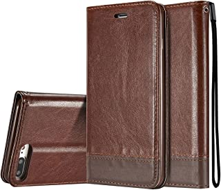 2018 Phone Covers for iPhone 8 Plus/iPhone 7 Plus Double-Sided Absorption Splicing Horizontal Flip Leather Case with Holder & Card Slots & Lanyard (Color : Brown)