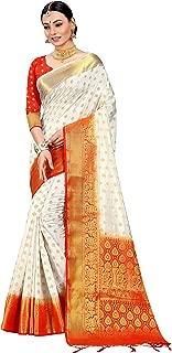 Sarees for Women Banarasi Art Silk Woven Saree l Indian Wedding Gift Sari with Unstitched Blouse Off White