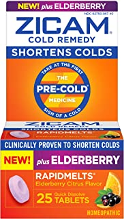 Zicam Cold Remedy RapidMelts, Elderberry Citrus Flavor, 25 Count (Pack of 1)