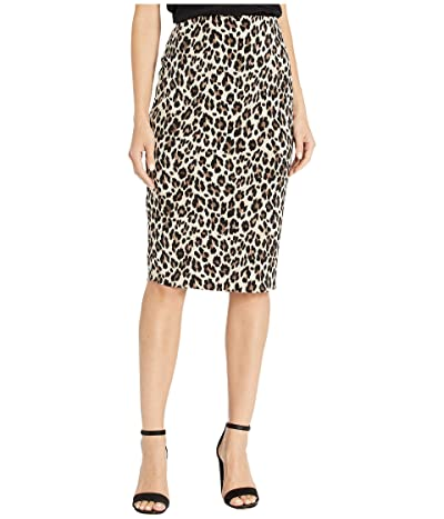 Vince Camuto Elegant Leopard Midi Tube Skirt (Rich Black) Women