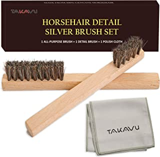 TAKAVU Horsehair Detail Brush Set, 2 Silver Cleaning Brushes and Polish Cloth for Detail Polish Work, Fine and Heirloom Si...