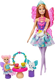 Barbie Dreamtopia Tea Party Playset with Barbie Fairy Doll, Toddler Doll, Tea Set, Pet and Accessories, Multi