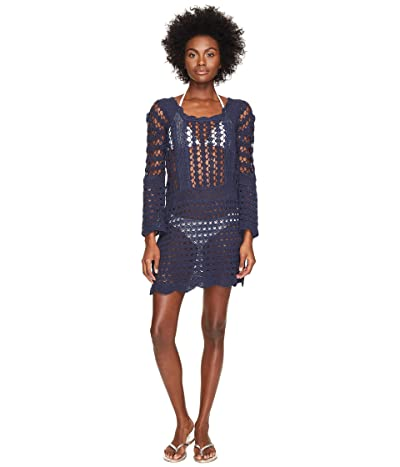 Letarte Crochet Long Sleeve Cover-Up (Dusty Navy) Women