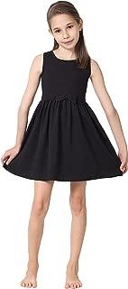 CAOMP Girls Casual Sleeveless Swing Dress, Organic Cotton, Spandex, Scoop Neck, Tagless
