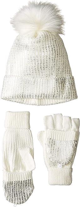 Metallic Knit Glove and Beanie Set