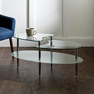 Walker Edison Modern Coffee Accent Table Living Room, Wave Top, Clear Glass