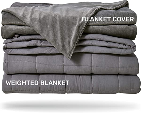 Sleep Mantra Adult Weighted Blanket 15 Lbs Heavy Full Queen Size Grey 2 Piece Set Glass Beads Filled Comfortable Sensory Blanket With Soft Removable Duvet Cover