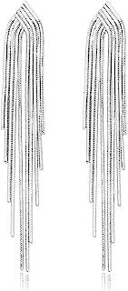 KristLand - S925 Silver/Alloy Hook Sleek Chain Tassel Drop Earrings Long Leather Fringe Dangle Simple Dainty Earrings