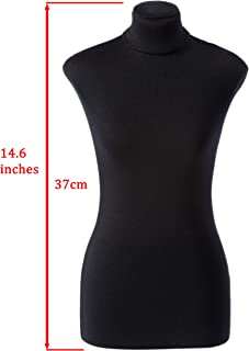 Mini Basic Half-Scale 1:2 to XS/Size 4 Professional Fully Pinnable Tailor Form Black Flexible Dress Form Sewing Mannequin Dummy Female Dressmaker Torso