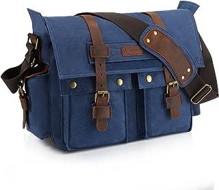 Kattee Leather Canvas Messenger Bag Fits 16 Inch Laptop (Blue)