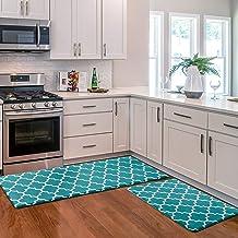 KMAT Kitchen Mat [2 PCS] Cushioned Anti-Fatigue Kitchen Rug, Waterproof Non-Slip Kitchen Mats and Rugs Heavy Duty PVC Ergo...
