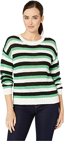 Long Sleeve Stripe Color Block Crew Neck Sweater