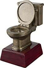 Gold Toilet Bowl Loser Trophy - Potty Training Award - Last Place Prize - 6 Inch Tall - Engraved Plate on Request - Decade Awards