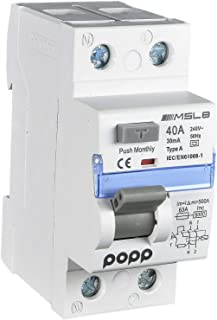 POPP® RCCB eléctrico industrial súper inmunizado 40A 30mA 1P + N TIPO A MSL8A (1)