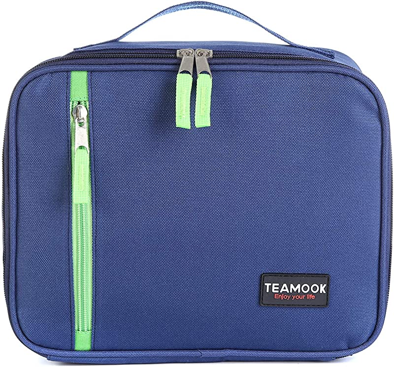 TEAMOOK Insulated Lunch Bag Lunch Box Bag For Adult Women Men Work Cooler Bag Navy Blue 5L