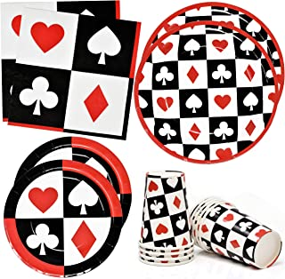 """Casino Night Poker Game Party Supplies Tableware Set 24 9"""" Dinner Plates 24 7"""" Plate 24 9 Oz. Cups 50 Lunch Napkins for Ca..."""