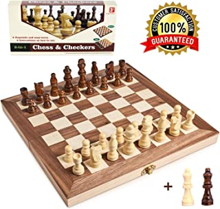 "Wooden Chess Set for Kids and Adults, Folding Chess Board Travel Chess and Checkers Set Game Board Interior for Storage - 2 Extra Queens ( 12"" x 12"" )"