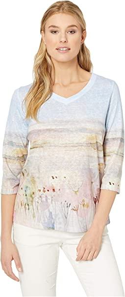 Printed Smooth Jersey Valley View V-Neck Top